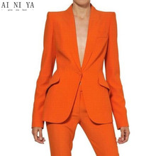 new Orange Women Ladies Custom Made Formal Business Office Tuxedo Jacket+Pants Suits