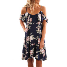 S-3XL Plus Size Floral Print Dress Female O Neck Sleeveless Casual Pleated Knee-length