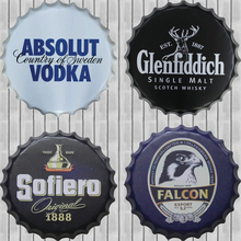 ZJY Absolut Vodka Metal Tin Beer Bottle Cap Decorative Plate Plaque Vintage Pub Wall Art Metal Sign Vintage Home Decor 40CM