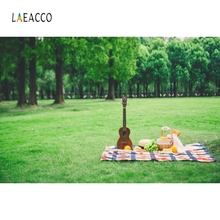 Laeacco Music Guitar Picnic Green Grass Backdrops Customized Photography Background Photographic For Photo Studio