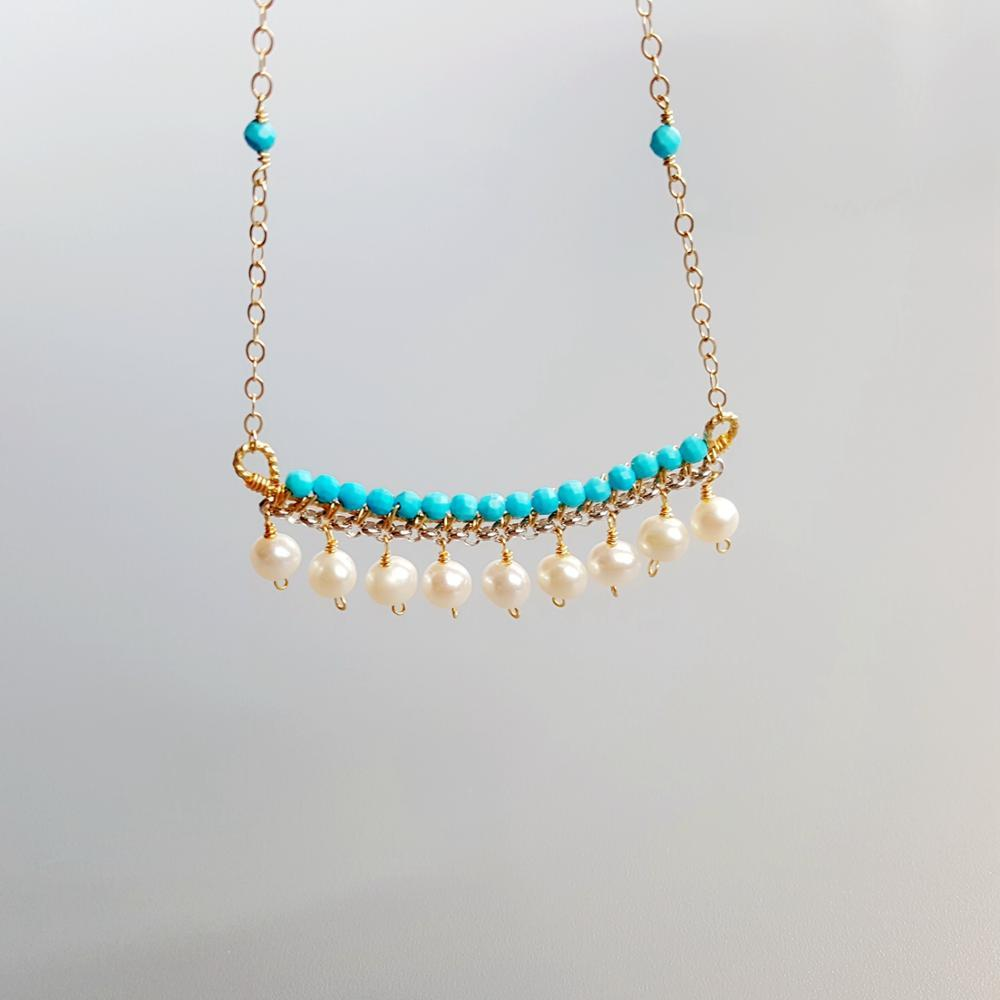 Lii Ji teints bleu Turquoises perle d'eau douce rempli d'or et chaîne en argent collier fait main délicat 40cm + 5cm