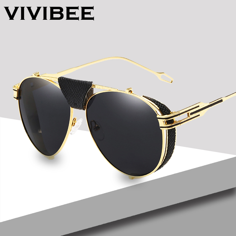 388217a93e VIVIBEE Luxury Gold UV400 Men Aviation Sunglasses with Leather Vintage Mens  Brand Designer Alloy Metal Pilot 58mm Glasses