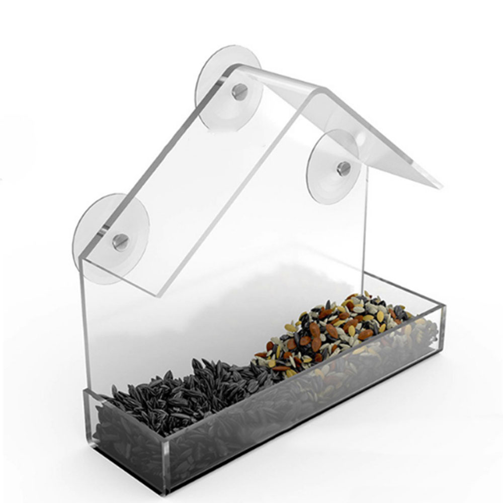 Outdoor Pet Bird feeder Removable Feeder with Sucker Transparent House-shaped Convenient Parrot Lovebird Canary Pet Supplies