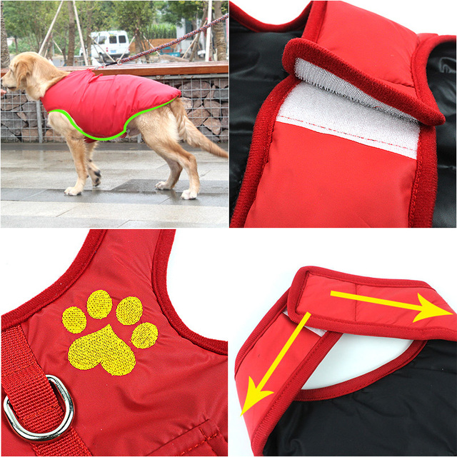 Pet Dog Clothes Jacket Coat Double-Side Wear Clothing Winter Warm Cotton for Yorkshire Small Large Big Dogs Puppy Cloth Costume 4