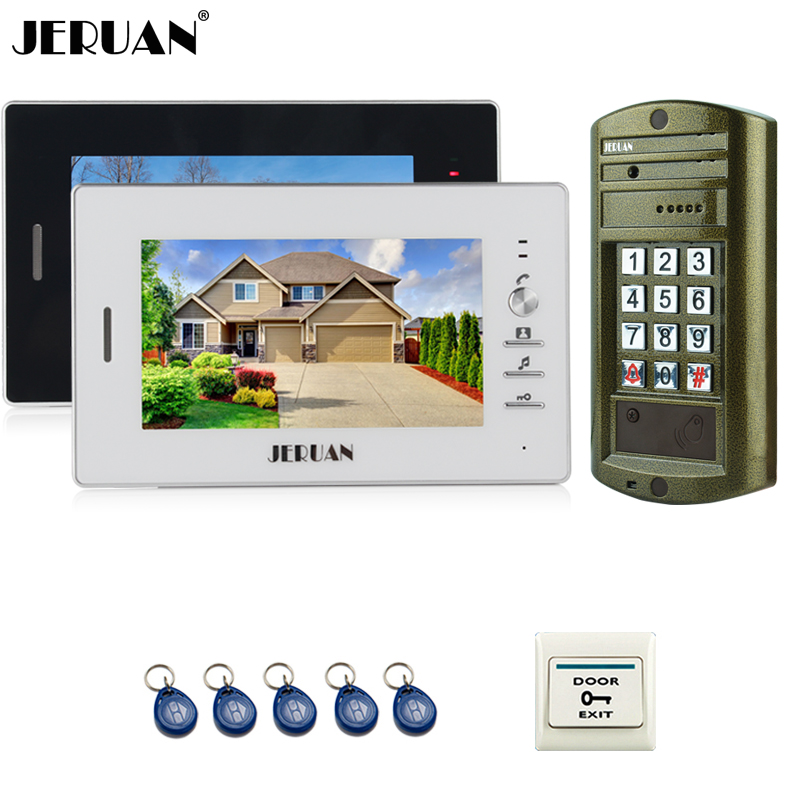 JERUAN 7 inch Video Doorbell Intercom System kit 2 Monitor + Metal panel Waterproof Access Password keypad HD Mini Camera 1V2 jeruan home 7 inch video door phone intercom system kit new metal waterproof access password keypad hd mini camera 2 monitor