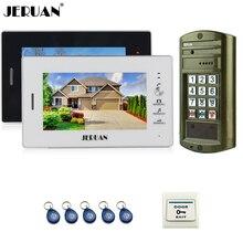 JERUAN 7 inch Video Doorbell Intercom System kit 2 Monitor + Metal panel Waterproof Access Password keypad HD Mini Camera 1V2
