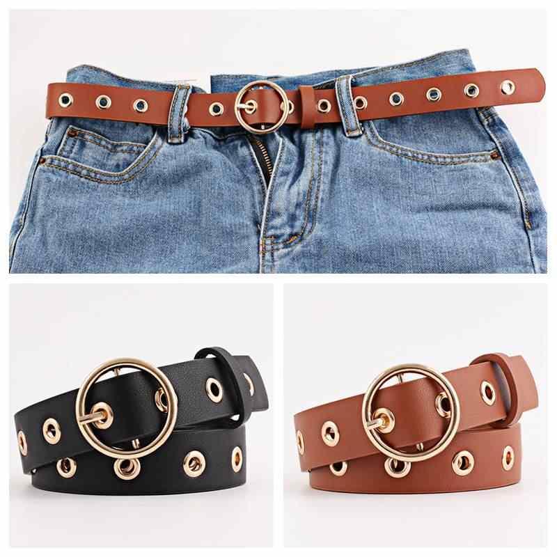 35b4c1629 Metal Hole Belts For Women Round Buckle Black Belt Girls Ladies Soft  Leather Belt