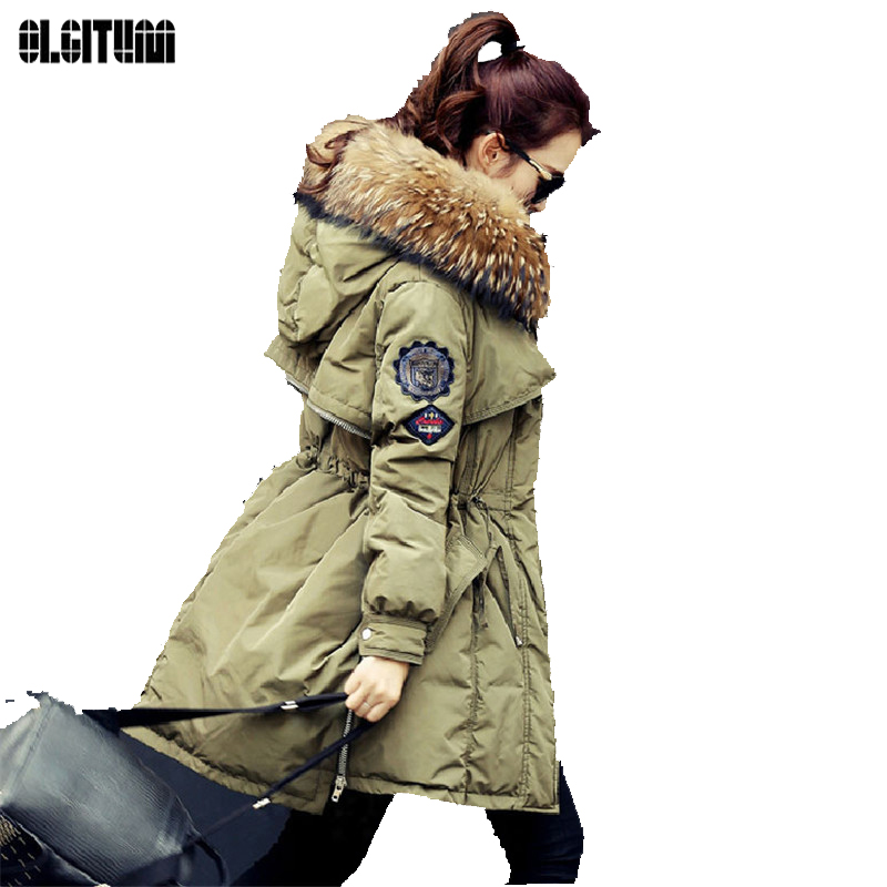 OLGITUM Winter Jacket Women White  Parka Jackets Natural Fur Collar Female Winter Coat Women Parkas Large Fur CC054 olgitum new autumn winter jacket coat women parka woman clothes solid long jacket slim women s winter jackets and coats cc107