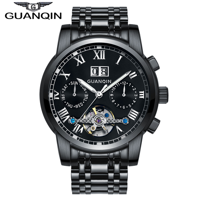 GUANQIN GJ16031 Watches Men Business Luxury Sport Automatic Mechanical Steel Watch Luminous Mens Tourbillon Top Brand Wristwatch yelang v1015 upgrade version khaki number tritium gas yellow luminous men automatic mechanical business watch steel watchband