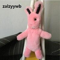 Zalzyywb Puszyste Bunny Lalki Brelok Dziewczyny Szkoła Bag Charm Moda Cute Dziewczyna Młodzieży Torebka Torebka Urok Prawdziwe Futro Królika Furry