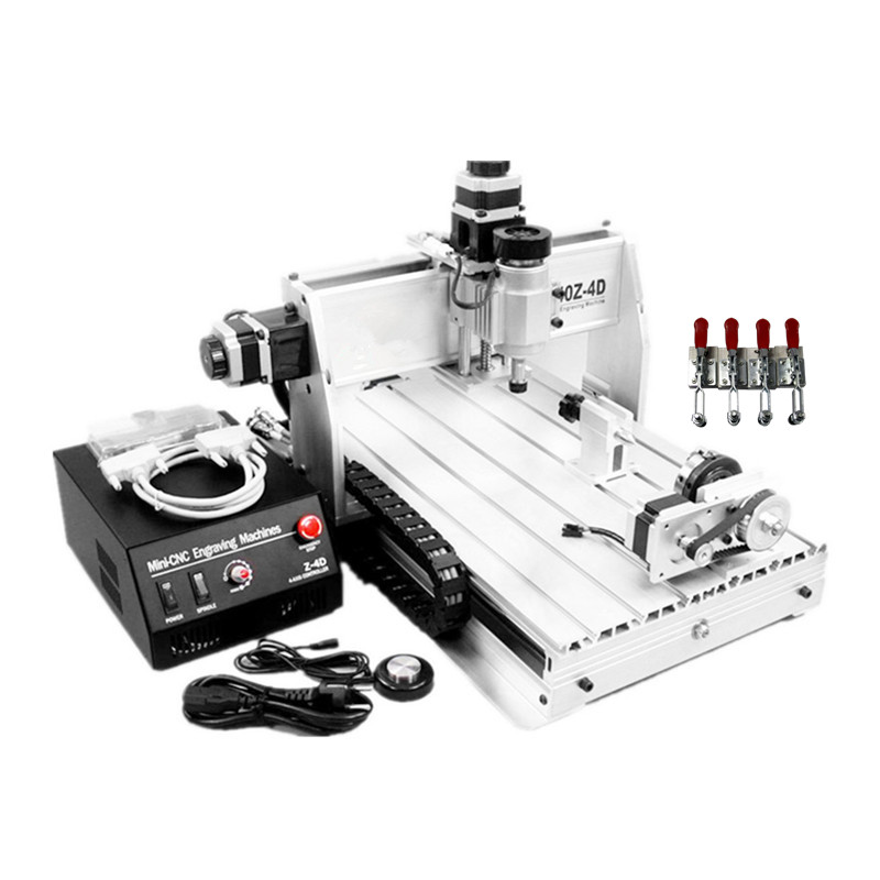 Free tax CNC router 3040Z DQ 4 Axis engraving machine with 4th rotary axis for 3d cnc wood metal cutting milling engraver