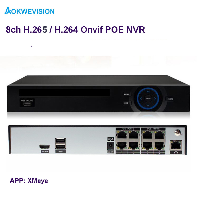New arrival XMeye Onvif H.265 / H.264 4ch 5MP / 8ch 4MP ONVIF POE NVR network video recorder for IP camera with HDMI output h 265 h 264 2mp 4mp 5mp full hd 1080p bullet outdoor poe network ip camera cctv video camara security ipcam onvif rtsp