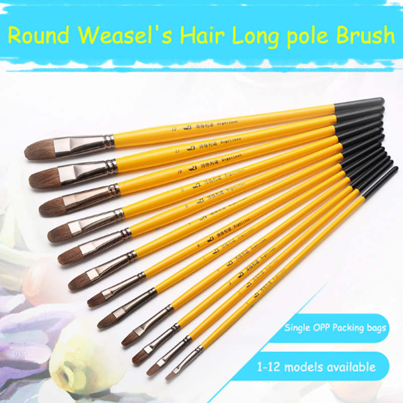 High quality 6pcs weasel hair paint brush gouache oil painting solid wood yellow handle brush - High quality exterior paint set ...