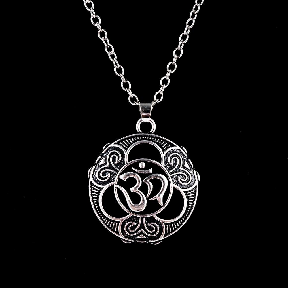 Prata yoga sânscrito pingente colar espírito puro sinal buda pingente hinduísmo namaste moda jóias presente para mulher