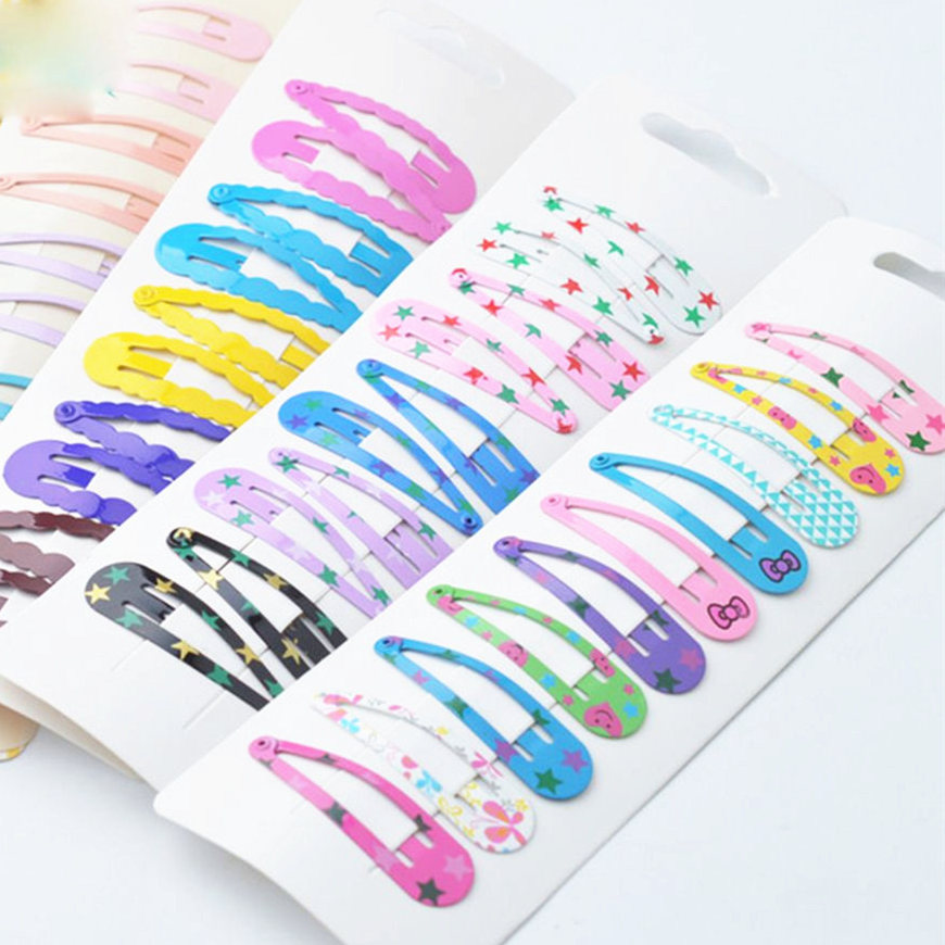 10Pcs/Set 5cm Hairpins Snap Hair Clips For Children Girls Hair Accessories Baby Cute Hair Clip Pins Metal Printed Barrette