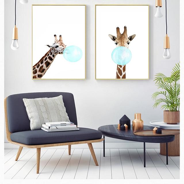 캔버스 페인팅 풍선 사슴 얼룩말 동물 포스터 노르딕 스타일 벽 아트 그림 베이비 룸 장식 봄 장식 그림