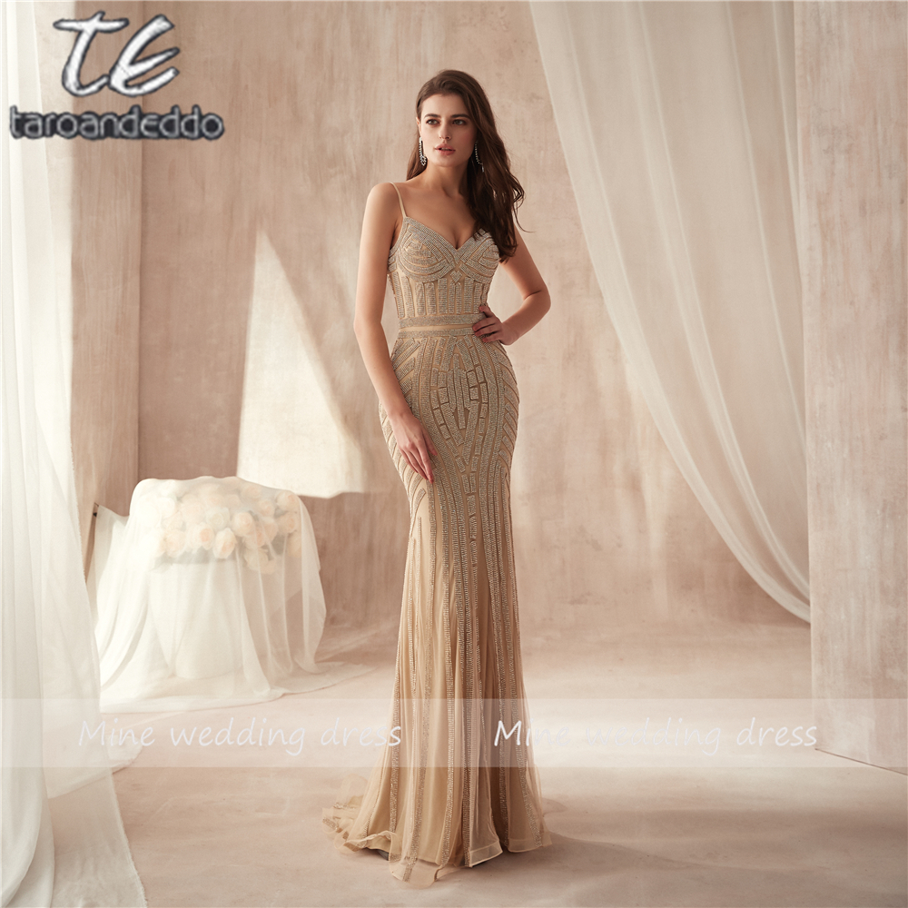 Spaghetti Straps Silver Sequined Mermaid Elasticity Material Prom Dresses Glitter Slim Gold Evening Dress vestidos de fiesta