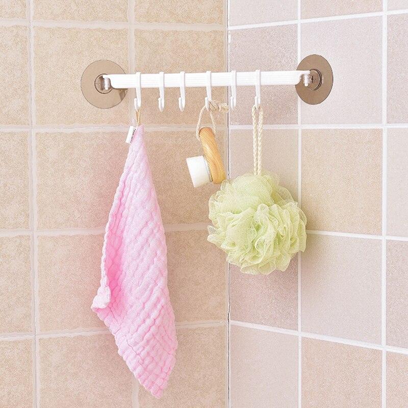 Self Adhesive 6 Hooks Bathroom Wall Towel Holder Hanging Nail-free Rack Strong Paste Hooks Key Hooks Kitchen Storage Rack