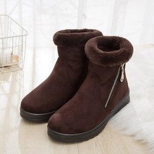 Image 3 - Zip kış kadın kar botları kaymaz kalın sıcak yarım çizmeler kadın moda orta yaşlı anne kış pamuklu ayakkabılar ucuz