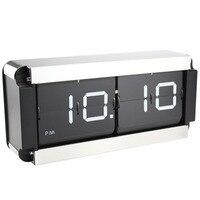 Большой цифровой флип часы Современный дизайн креативный металлический стол часы декоративная спальня ретро Авто Флип страница Часы насте