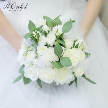 PEORCHID Ivory Roses Flowers Bridal Bouquet Fleurs Mariage Gorgeous Wedding Accessories Artificial Bridesmaid Bouquet
