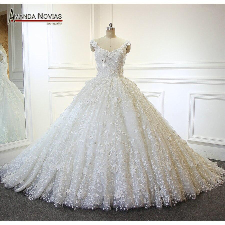 Charming Neue Modell Off Schulter Amanda Novias Lange Hülse Spitze Hochzeit Kleid 2019 Weddings & Events