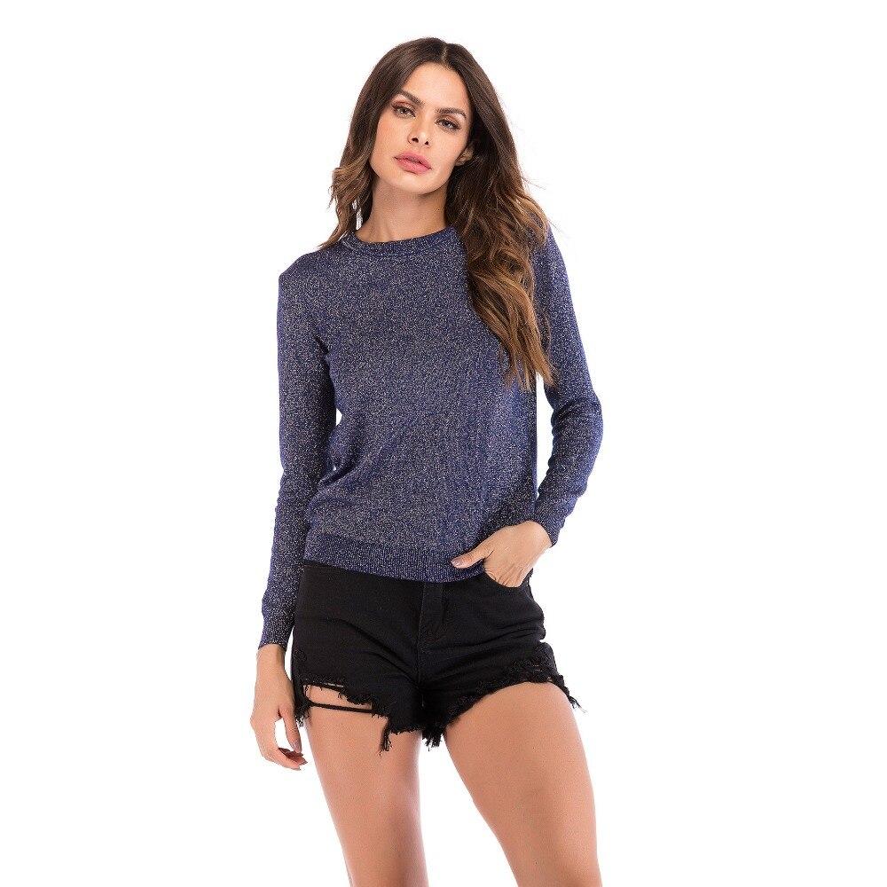 2018 nueva moda mujer o-cuello de manga larga de punto suéter señora Jumper Outwear capa de punto