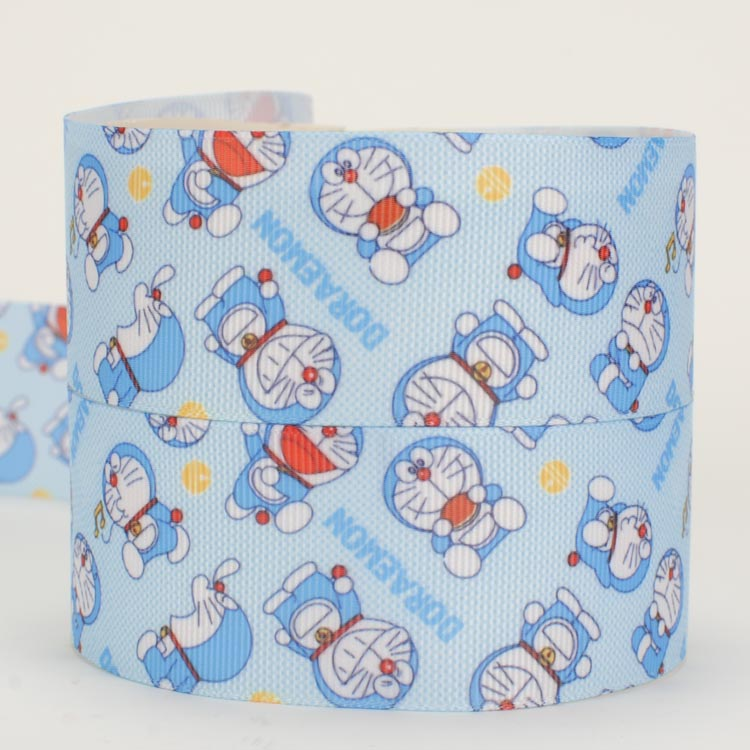 NEW sales 1/238mm 50 yards blue Doraemon printed grosgrain cartoon ribbon free shipping