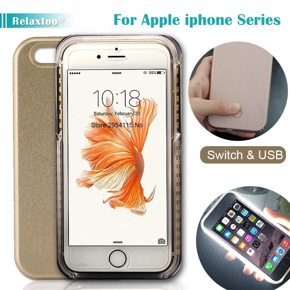 Caso per il iphone 7 6 6 S Più 5 s Flash Selfie Light Up Glowing Cassa Del Telefono di Lusso Per Apple i Phone 5 s 6 s 7 s più iphoneX copertura