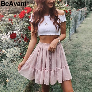 Image 2 - BeAvant Boho summer pleated mini skirts womens High waist polka dot short skirt pink A line floral printed ruffle chiffon skirts