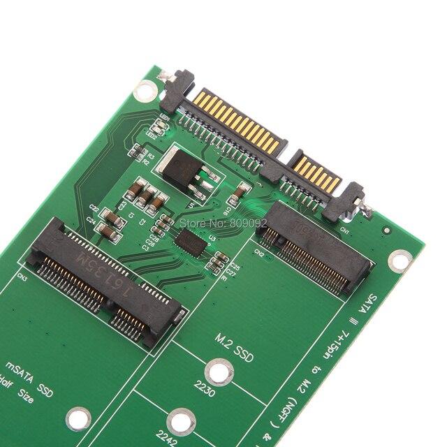 mSATA & NGFF M2 to SATA Adapter Card Converter mSATA/NGFF SSD to 2.5inch SATA adaptator Adapter Support mSATA SSD + M.2 NGFF SSD