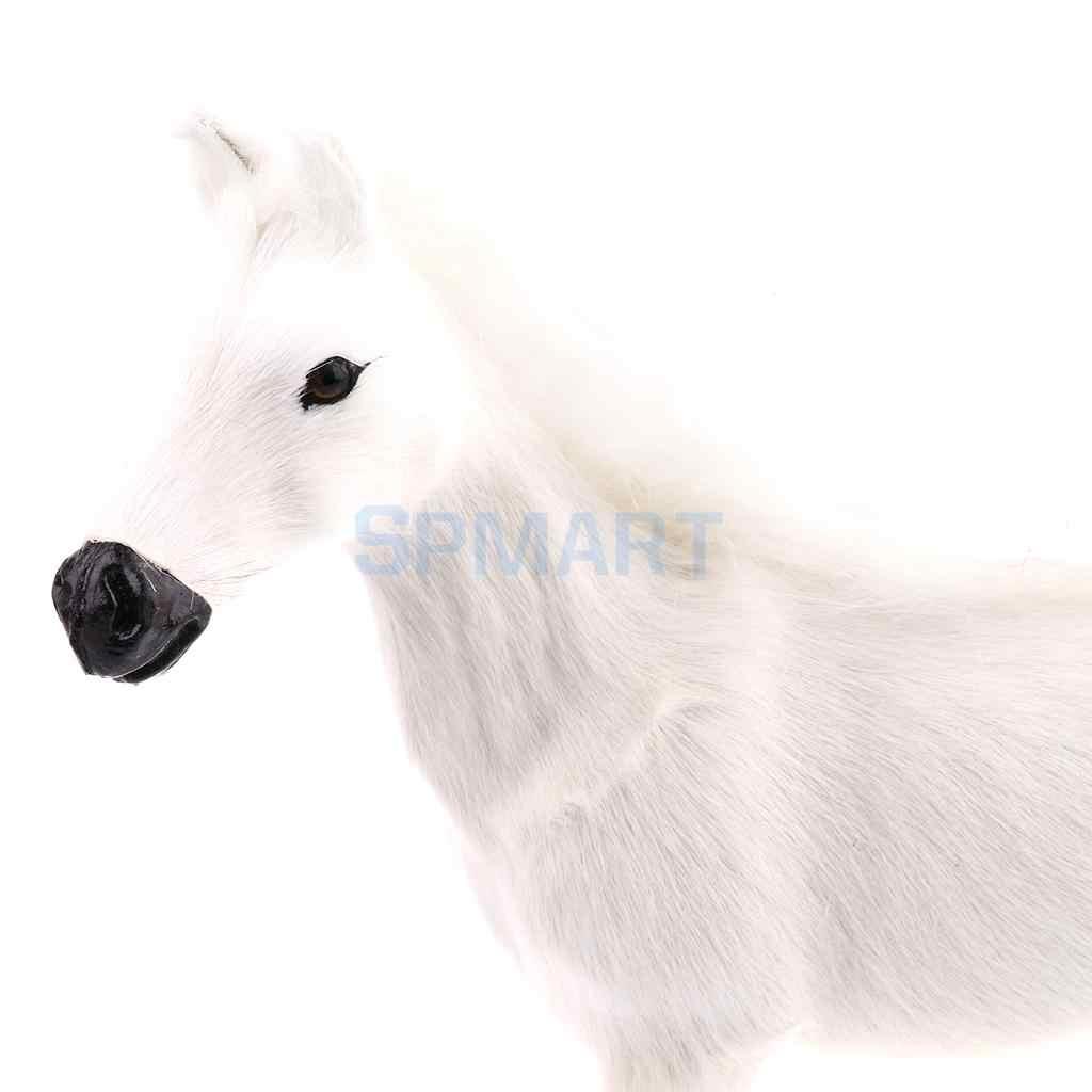 เหมือนจริงตุ๊กตาม้าสัตว์รูปตุ๊กตาตัวเลข Soft ของเล่นตกแต่งบ้านสีขาว