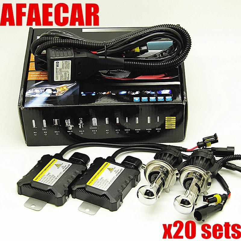 DHL fedex livraison gratuite 20 kits H4 Bixenon voiture 55 w 4300 k 6000 k 8000 k H4 SALUT LO xenon kit de phare