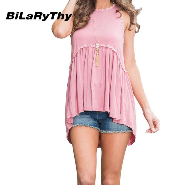 BiLaRyThy Nova Moda Feminina Tanque Verão Tops Tees Sólidos Rosa Sem Mangas O Pescoço Solto Camiseta Casual Roupas Femininas