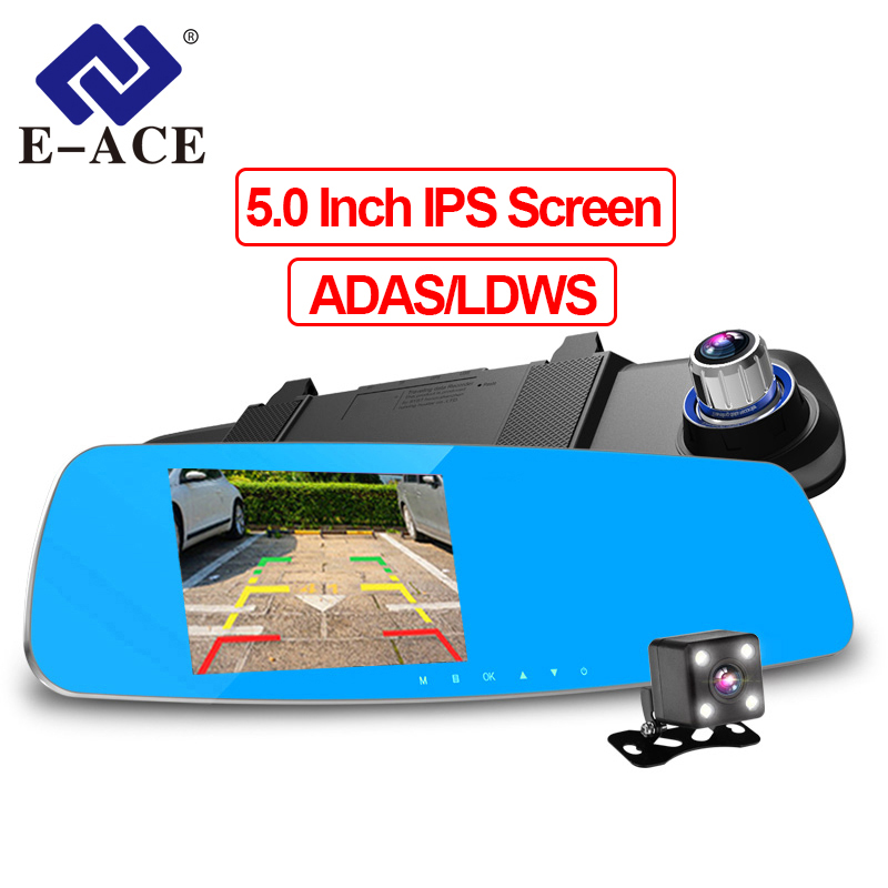 E-ACE Car DVR Camara 5 Inch Dual Lens Recorder FHD 1080P Auto Registrator Rearview Mirror With ADAS LDWS Night Vision Dash CamE-ACE Car DVR Camara 5 Inch Dual Lens Recorder FHD 1080P Auto Registrator Rearview Mirror With ADAS LDWS Night Vision Dash Cam