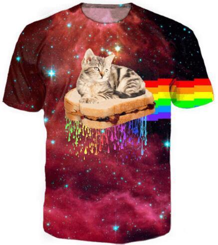3D Harajuku Tees PB&J Rainbow Cat T-Shirt Women/Men Short Sleeve HipSter Outfits Clothing