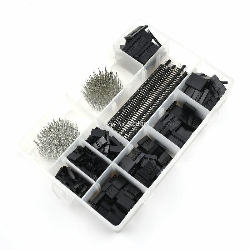 Kit de conector dupont, 1550 pçs/set mm, macho, fêmea, eletrônico, de pinos, para cabeçote de fio, carcaça de cabeçote