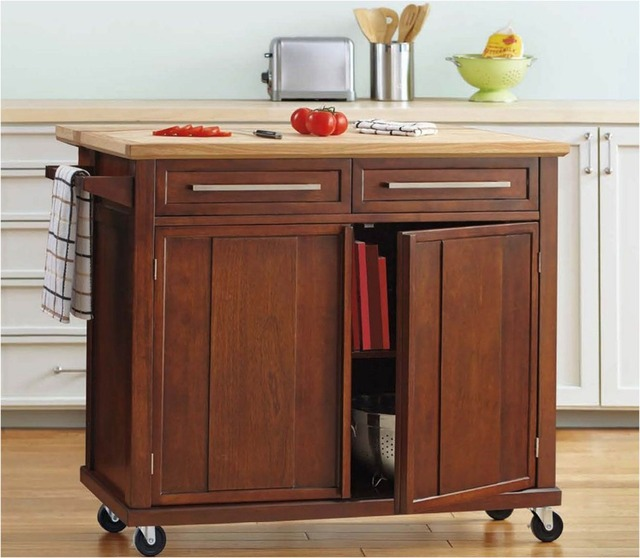 Hlc 45 Kitchen Cart With Natural Wood Top Storage Trolley Doors And