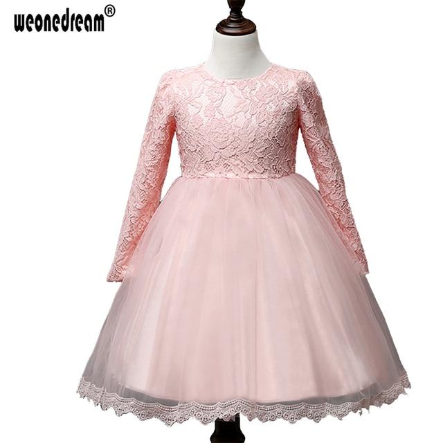 666f70609e Weonedream 2018 Niñas vestido elegante manga larga Niñas princesa vestido  velo Encaje Tutu vestido para bebé