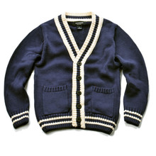 kids boys blue england style knitted cardigan cotton casual sweater V-Neck buttoned placket long sleeve with striped cuffs tops