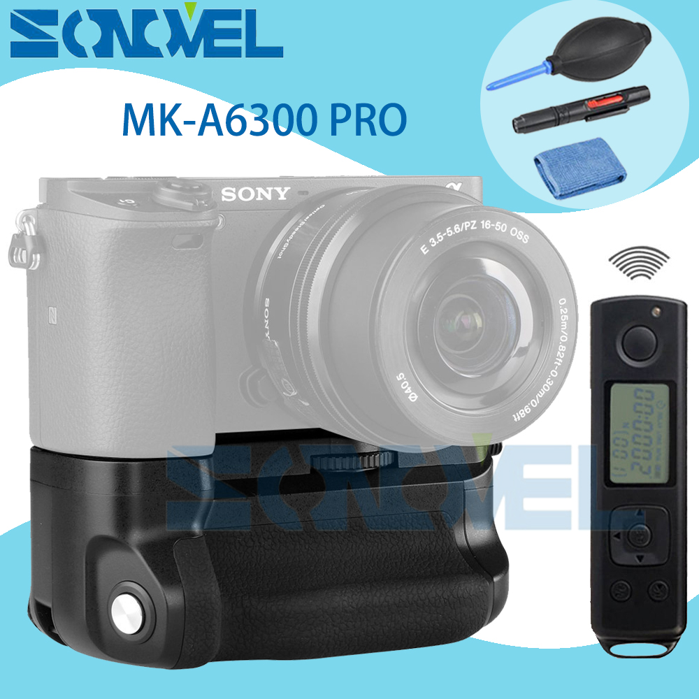 Meike MK-A6300 pro Battery Grip Holder Built-in 2.4G Wireless Remote Control Suit for Sony A6300 A6000 work with NP-FW50 battery meike mk d500 pro vertical battery grip built in 2 4ghz fsk remote control shooting for nikon d500 camera as mb d17
