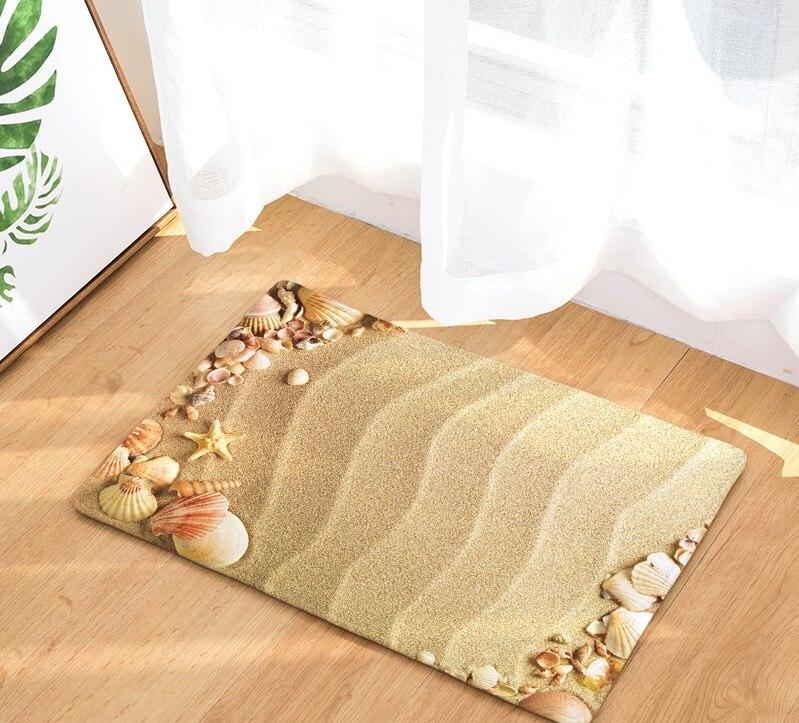 CAMMITEVER Beach Sandy Shells Sea Star Summer Holiday Style Rug Anti Slip Doormat Home Decor Door Mat Floor Living Room Carpet-in Rug from Home & Garden