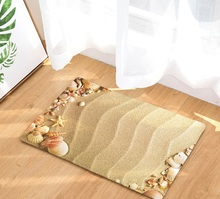 CAMMITEVER Beach Sandy Shells Sea Star Summer Holiday Style Rug Anti Slip Doormat Home Decor Door Mat Floor Living Room Carpet