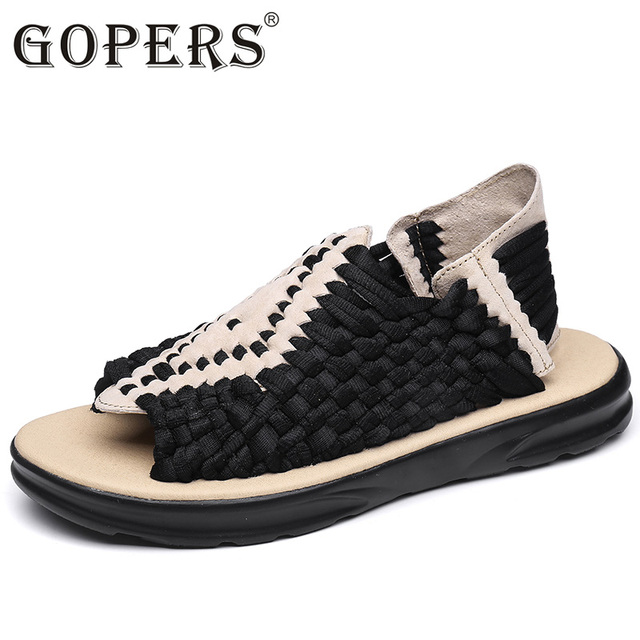GOPERS 2017 Fashion Sandals Men Vintage Rome Style Summer Beach Breathable Casual Solid Men Sandals 4 Colors Size 35-44