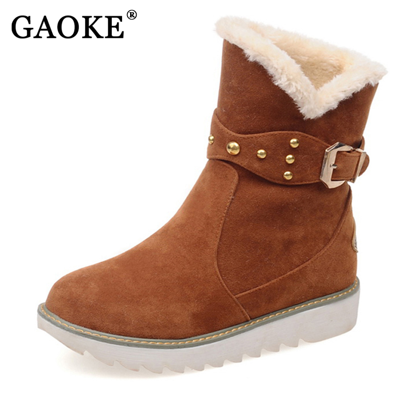 GAOKE warm faux fur waterproof snow boots women winter fashion ankle boots big size black brown beige color dropshipping new fashion style snow boots winter fashion black brown warm fur women casual shoes on sale size 34 39