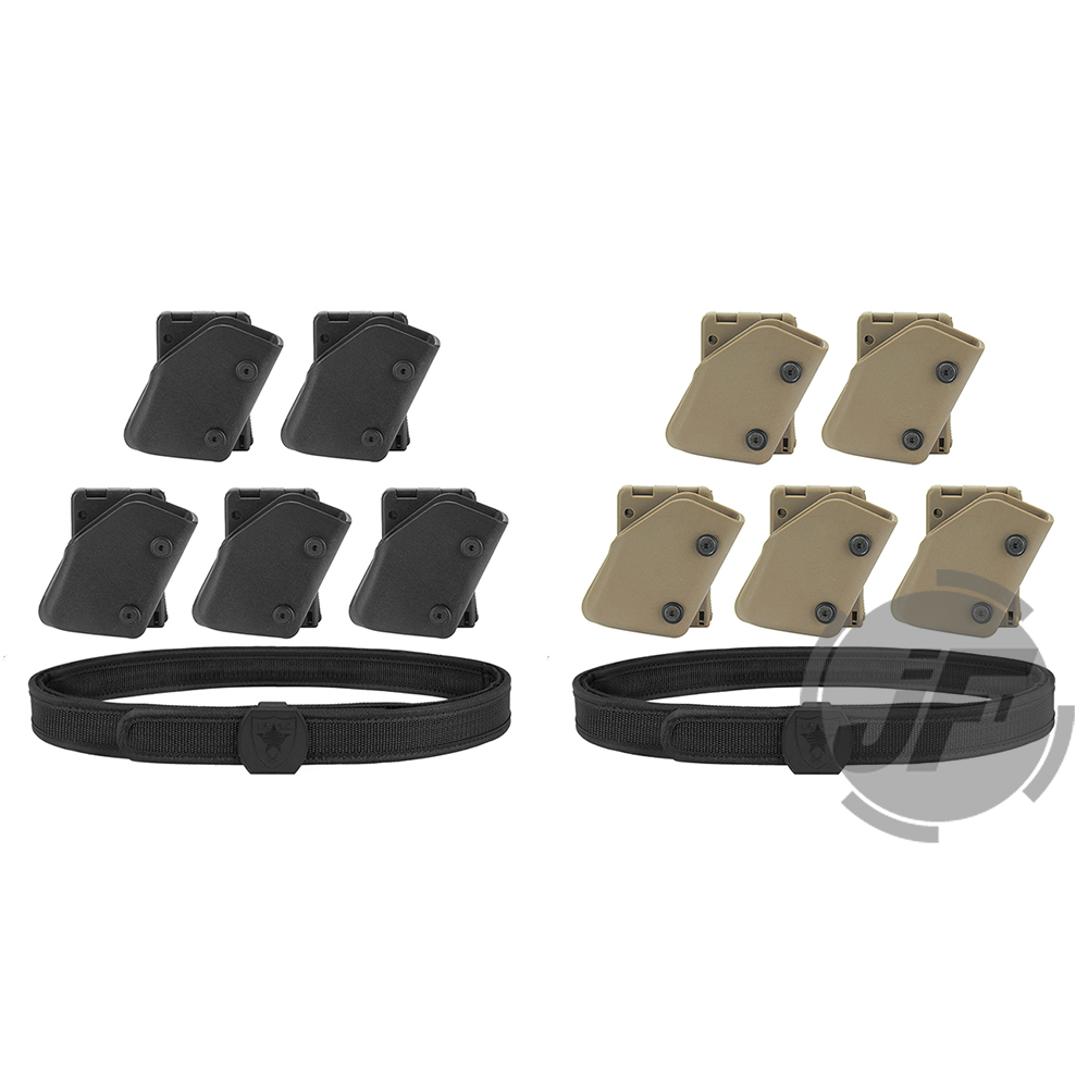 IPSC USPSA IDPA Competition High Speed Shooting Inner & Outer Belt w/ 5x Fast Draw Pistol Magazine Pouch Mag Carrier Holster