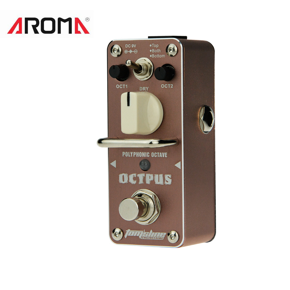 AROMA AOS-3 Octpus Electric Guitar Pedal Polyphonic Octave Guitar Effect Pedal Mini Single Effect Guitar Parts & Accessories aroma agf 3 guitar pedal vintage germanium fuzz guitar effect pedal mini analogue true bypass guitar parts