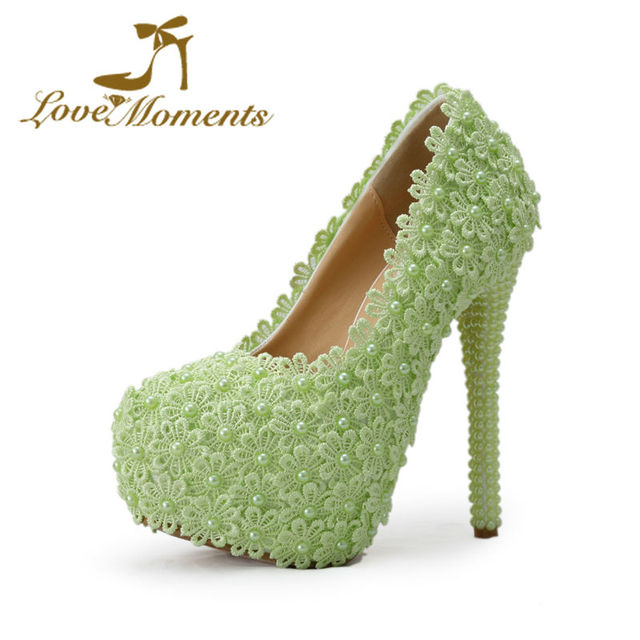 Love Moments Sweet Wedding Shoes Green Flowers Pearl Beading Bridal High Heels Dress Party