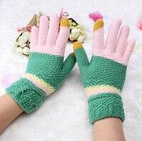 New Children Knitting Mittens Winter Gloves Women Girl Sweet Rainbow Wool Glove Warmer Gloves KQ9