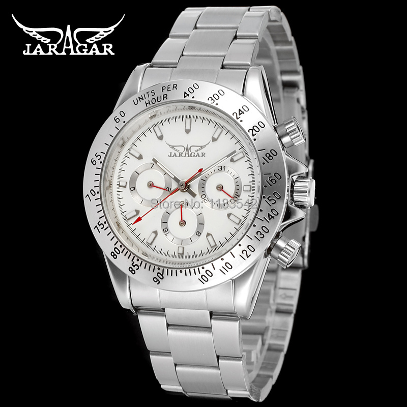 JARGAR Shock Selling Brand Silver Dial Stainless Steel Bracelet hombres Gift wrist watch Automatic mens watch  /JAG6903M4S2  цена и фото